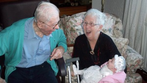 My granddads first smiles off his first grandchild - precious moment